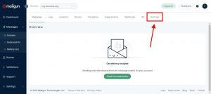 Settings dominio Mailgun